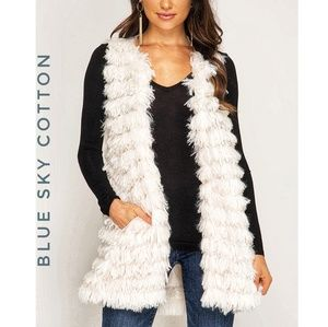 Faux Fur Vest Duster, Layered Cream with Pockets